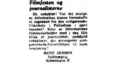»Indlæggets insinuation er grebet ud af luften,« svarede Informations filmmedarbejder Svend Kragh-Jacobsen, da han som formand for Bodilkomiteen i 1961 blev anklaget for at være med i en lille klike af journalister, der havde ladet sig bespise for velgørenhedspenge