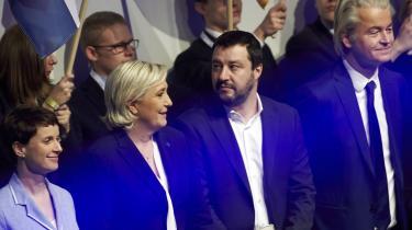 Tilbage i 2017 mødtes flere af Europas EU- og indvandrerkritiske partier i den tyske by Koblenz. Fra venstre Frauke Petry, tidligere formand for AfD, Marine Le Pen, Rassemblement National, Matteo Salvini, Lega, og Geert Wilders fra Frihedspartiet i Holland.