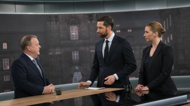 Fra tv-duellen mellem statsministerkandidaterne Lars Løkke Rasmussen (V) og Mette Frederiksen (S) i DR søndag aften.