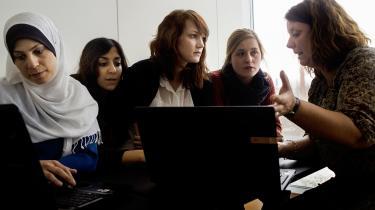 Lærerstuderende på læreruddannelsen ved Campus Roskilde.