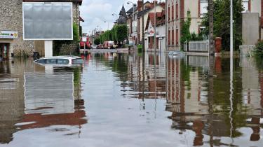 Oversvømmede gader i Montargis i det sydlige Frankrig i 2016.