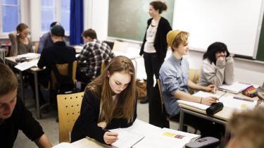 Flere og flere danske børn går i privatskole, og udviklingen fortsætter. På billedet er det en 9. klasse fra Ingrid Jespersens Gymnasieskole i København.
