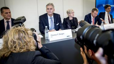 Finanstilsynet har mødt kritik for at frifinde sig selv i forbindelse med hvidvask-sagen i Danske Bank. Billedet er fra pressemødet, hvor tidligere direktør Thomas Borgen annoncerede sin afgang.