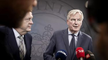 Michel Barnier, EU's brexitforhandler, mødteLars Løkke Rasmussen under sit besøg i slutningen af april.
