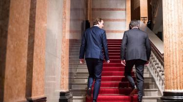 Den østrigske kansler, Sebastian Kurz, fra det konservative ÖVP sammen med vicekansler og FPÖ-leder, Heinz-Christian Strache.