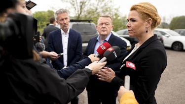 Lars Løkke Rasmussen og Inger Støjberg til pressemøde mandag om fremtidens grænsekontrol. En kontrol, Lars Løkke Rasmussen først var lodret imod, men nu åbner åbner op for at gøre permanent.