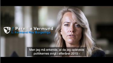 Pernille Vermund havde egentlig både børn og egen biks at passe. Men da flygtningene i 2015 pludselig gik på den danske motorvej, følte hun sig kaldet til at tilsidesætte sine egne behov for at beskytte fædrelandet. Det er historien i Nye Borgerliges valgvideo