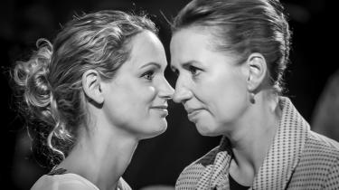 Pernille Skipper og Mette Frederiksen under partilederdebatten på Christiansborg i valgkampen i 2019.