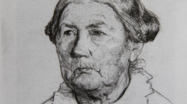En aldrende Renna Hauch tegnet af barnebarnet Mathilde Koch. Foto fra Lone Krogsholms bog