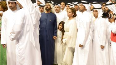 Prinsesse Haya Bint Al Hussein med sin mandMohammed bin Rashid Al Maktoum, premierminister af De Forenede Arabiske Emirater og de facto leder af Dubai, og deres datterSheikha Al Jalila Bint Mohammed Al Maktoum.