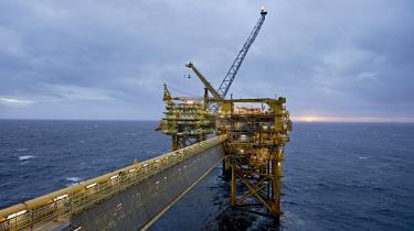 Her ses en af Mærsks platforme: Maersk Oil's Halfdan-platform i Nordsøen.