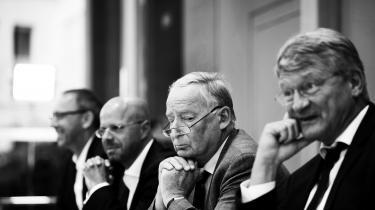 AfD-leder Alexander Gauland skyndte sig at tolke søndagens valgresultat som et tegn på, at »AfD snart vil deltage i en regering« – og at der internti CDU i Sachsen vil opstå et krav om at gå i regering med AfD. Fravenstre ses AfD's spidskandidat i Sachsen, Joerg Urban, AfD-kandidat i Brandenburg, Andreas Kalbitz, AfD-leder, Alexander Gauland og Joerg Meuthen.