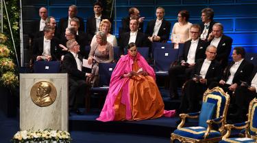 Sara Danius til nobelfesten i 2018 – det år, hvor den litterære pris ikke blev uddelt på grund af krisen i Det Svenske Akademi.