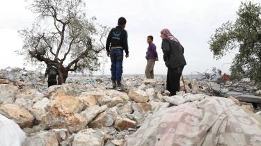 Det ødelagte område, nær landsbyen Barisha i Syriens Idlib provins, to dage efter operationen mod Abu Bakr al-Baghdadi.