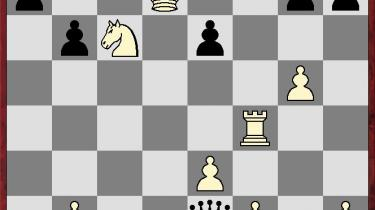 Diagrammet viser slutstillingen fra det parti, der gav Carlsen VM-guld i lynskak modNakamura.