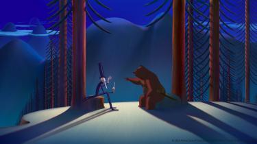 Storfyrstens troldmand bedriver dobbeltspil for at narre bjørnenes konge, Leander, ogindynde sig hos sin arbejdsgiver i animationsfilmen 'Bjørnene fra Sicilien'. Foto: Angel Films