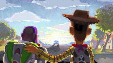 En skitse af de to stykker legetøj Buzz Lightyear og Woody, der kommer til live i Toy Story-filmene. Foto fra udstillingen.