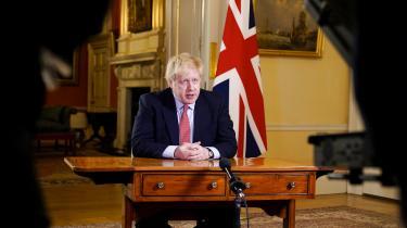 Boris Johnson talte mandag til nationen.