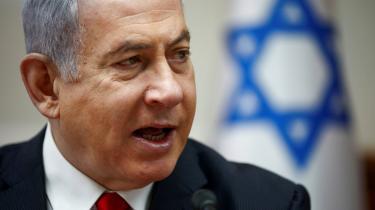 Den israelske premierminister Benjamin Netanyahu taler ved hans ugentlige kabinetsmøde i Jerusalem.