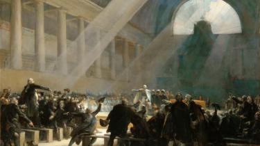 Med Oplysningstidens forandringer og Den Franske Revolution rykker krisebegrebet for alvor ind i samfundsbeskrivelsen. Her en debat i den franske nationalforsamling under revolutionen sommeren 1789 efter samtidigt maleri.