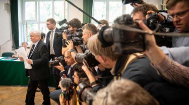 Jaroslaw Kaczynski, formand for det polske regeringsparti Lov og Retfærdighed (PiS), under parlamentsvalget i oktober 2019.