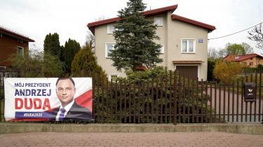 Valgplakat af President Andrzej Duda.