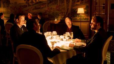 Thomas Bo Larsen, Lars Ranthe,Mads Mikkelsen og Magnus Millang i Thomas Vinterbergs nye film, 'Druk', der er udtaget til filmfestivalen i Cannes, selv om festivalen ikke bliver afholdt.