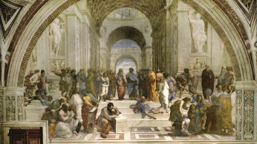Aristoteles og Platon i midten af Rafaels berømte renæssancemaleri 'Skolen i Athen'. Grundbetingelserne for debatten på Facebook blev beskrevet allerede af Aristoteles med hans 'pathos, logos og ethos'. Men deres indbyrdes vægtning er markant ændret, så især 'ethos' har fået mere plads at boltre sig på.