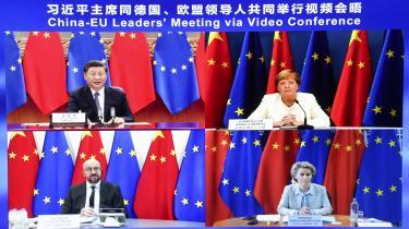 Videokonference mellem forbundskansler Angela Merkel, EU-Rådspræsident Charles Michel, EU-Kommissionsformand Ursula von der Leyen og præsident Xi Jinping fik beskeden opmærksomhed, og det var de alle fire måske også tilfredse med.