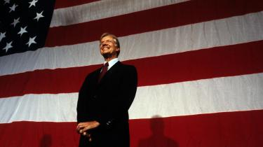 Byplanprofessoren Jon Hawes første energiske valgkamp for Jimmy Carter - som her er fotograferet ved et vælgermøde i Tampa, Florida 1979 - men professoren blev skuffet.