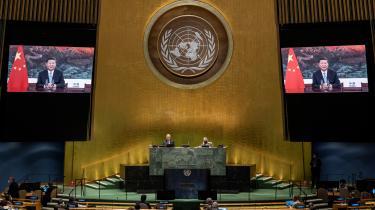 Kinas præsident, Xi Jinping, holder sin tale ved den 75. udgave af den årlige FN-generalforsamling, som hovedsageligt bliver afholdt virtuelt fra New York i år.