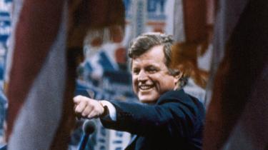 Edward Kennedy taler ved demokraternes konvent i New York i august 1980, efter han har tabt valget om at blive partiets præsidentkandidat til Jimmy Carter.