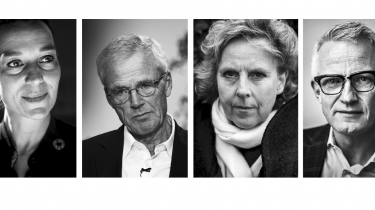 Fra venstre mod højre ses: Kirsten Brosbøl, Anders Eldrup, Connie Hedegaard og Mads Nipper, som er blandt de, som har underskrevet en Appel til regeringen, om at overholde klimamålene til 2030.  Credit: Peter Nygaard Christensen Thomas Lekfeldt Asger Ladefoged / Ritzau Scanpix Emil Helms/Ritzau Scanpix