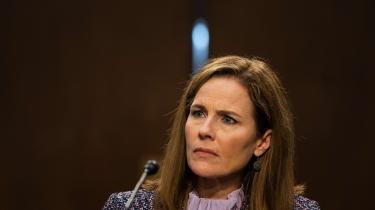 Højesteretskandidaten Amy Coney Barrett under høringen i Washington, D.C. den 14. oktober 2020.