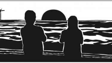 Handlingen i Halfdan Piskets nye tegneserie 'Døden' udspiller sig ligesom i Dansker-trilogien under en sort sol. Manden med leen opholder sig bag en revne i himlen, hinsides vindmøllerne på Middelgrunden.