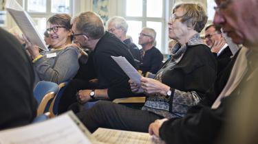 (ARKIV) Et kor for pensionister mødes hver torsdag og øver i KlostergadeCentret i Aarhus.