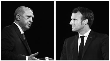 »Tyrkiet har imperiale tilbøjeligheder,« siger Frankrigs præsident, Emmanuel Macron. »Lad mig sige det, som det er: I er de virkelige fascister. I er et led i nazismens kæde,« lyder det fra Tyrkiets præsident, Recep Erdogan. Redigeret foto.