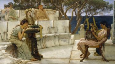 De to digtere Sapfo (tv.) og Alcaeus under en koncert, sådan som maleren Lawrence Alma-Tadema har forestillet sig det.