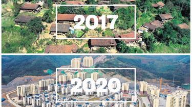 Med undertrykkende og autoritære metoder som nedrivning af lerhuse og tvangsflytning af millioner af kinesere til moderne byggerier er det lykkedes Kina at udrydde ekstrem fattigdom. Her er det et foto landsbyen Pingliu i 2017, hvor indbyggerne siden er blevet tvangsflyttet til nye lejligheder i Baise tæt ved.