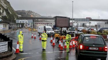 Grænsekontrol ved havnen i Dover, efter EU lukkede grænsen til Storbritannien på grund af COVID-19 mutation.