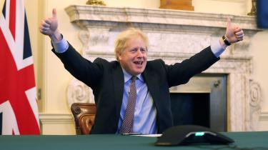 Premierminister Boris Johnson i sejrspositur den 24. december, da Brexit-aftalen med EU endelig faldt på plads. Nu er spinkampagnen i fuld gang for at definere, hvem der vandt, og hvem der tabte (spoiler: os alle sammen).