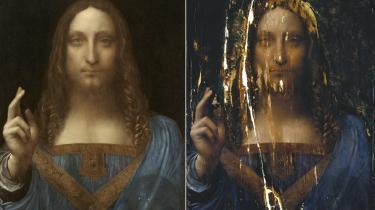 Til venstre: Verdens dyreste maleri, 'Salvator Mundi' – verdens frelser. Et lille maleri, blot 66 gange 45 centimeter, men med en rig historie: Bestilt af Louis XII omkring år 1500, genopdaget på en obskur auktion i New Orleans i 2005 og nu formentlig i hænderne på den saudiarabiske kronprins Mohammad bin Salman.  Til højre: Maleriet efter en indledende rensning har fjernet det værste af tidligere reparationer og overmalinger. Da maleriet dukkede op i 2005, var rammen så ormstukket, at maleriet under reparationen af træpanelerne simpelthen faldt fra i hinanden i syv dele.