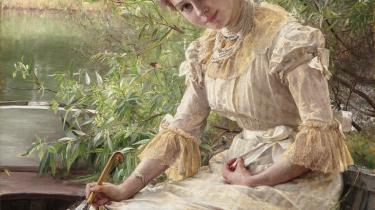 Dette maleri af Bertha Wegmann fra 1885 har slået ny dansk hammerslagsrekord for et værk udført af en kvindelig kunstner. Det blev solgt til 3,1 millioner til Den Hirschsprungske Samling, der næste år åbner en større udstilling med Wegmann.