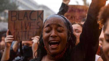 Black Lives Matter demonstration i Washington efter drabet på George Floyd, 2020.