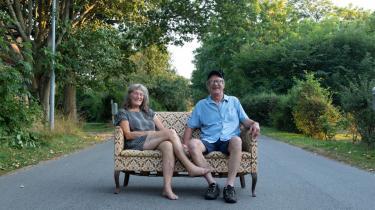 Peder Sørensen med sin kone, Sysser Thofte, i en glad stund