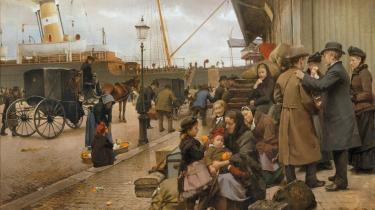 Edvard Petersen: 'Udvandrere på Larsens Plads', 1890.