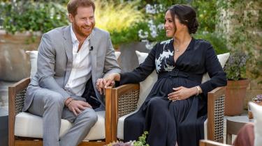 Harry og Meghan under interviewet med Oprah Winfrey.