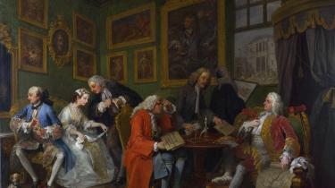 William Hogarth: 'Marriage a-la-mode': 'The Marriage Settlement', 1. af 6 malerier i serien. Kan ses på National Gallery i London