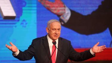 Premierminister Benjamin Netanyahu taler til sine støtter i hovedkvarteret i Jerusalem den 24. marts – umiddelbart efter det fjerde nationale valg på to år.