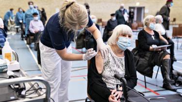 Vaccinationen med Moderna-vaccinen for ældre danskere i Brønderslevhallen torsdag den 4. februar 2021.